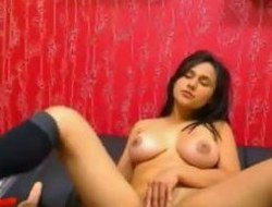 Breasty Indian Gal Rubbing Her Pussy